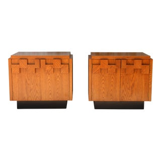 Lane Oak Pair of Brutalist Nightstands