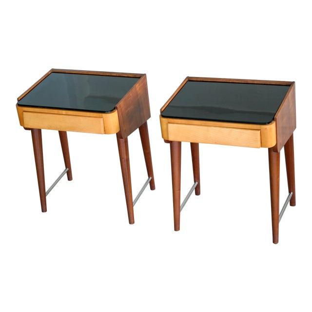 Pair of Danish Midcentury Nightstands in Teak and Elm With Black Glass Top For Sale