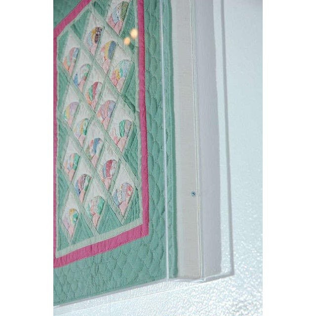 Miniature 1940s Pastel Fans Mounted Doll Quilt - Image 8 of 8