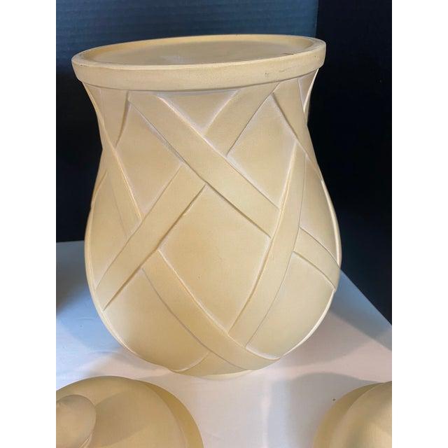 Ceramic Vintage Lattice Design Ginger Jars - a Pair For Sale - Image 7 of 9