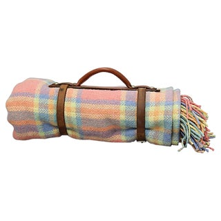 1940s English Wool Picnic Blanket W/ Carrier For Sale