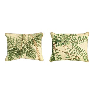 Fern Needlepoint Pillows - Set of 2 For Sale