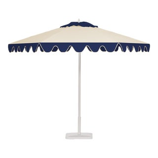 Blue Ice 9' Patio Umbrella, Blue and White For Sale