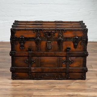 Antique Indonesian Travel Treasure Chest With Brown Patina and Leather Details Preview
