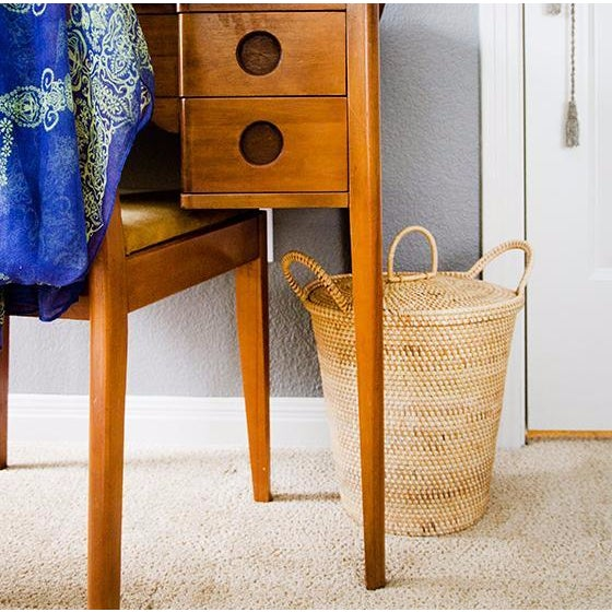 Rattan Basket With Dainty Handles & Top - Image 2 of 2