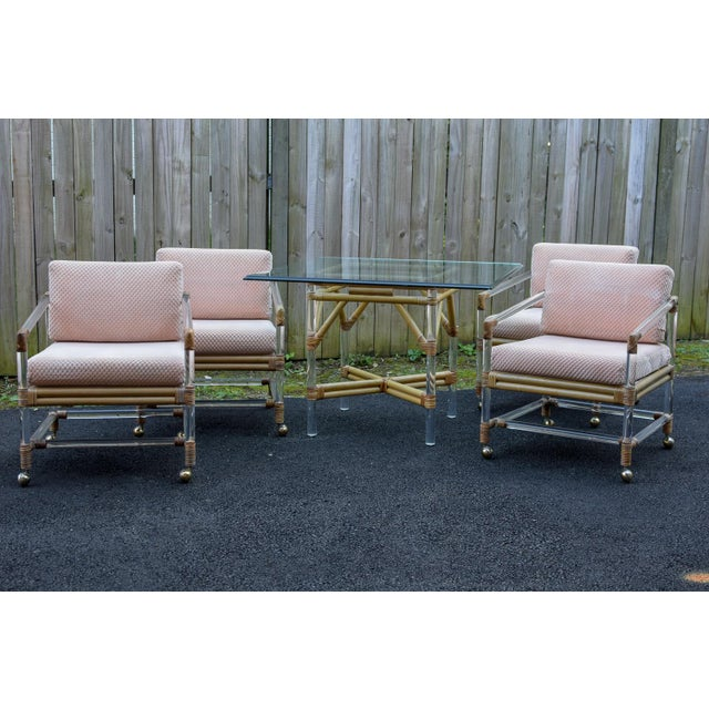 McGuire for Four Seasons Lucite and Bamboo Dining Table and Chairs Set For Sale - Image 12 of 12