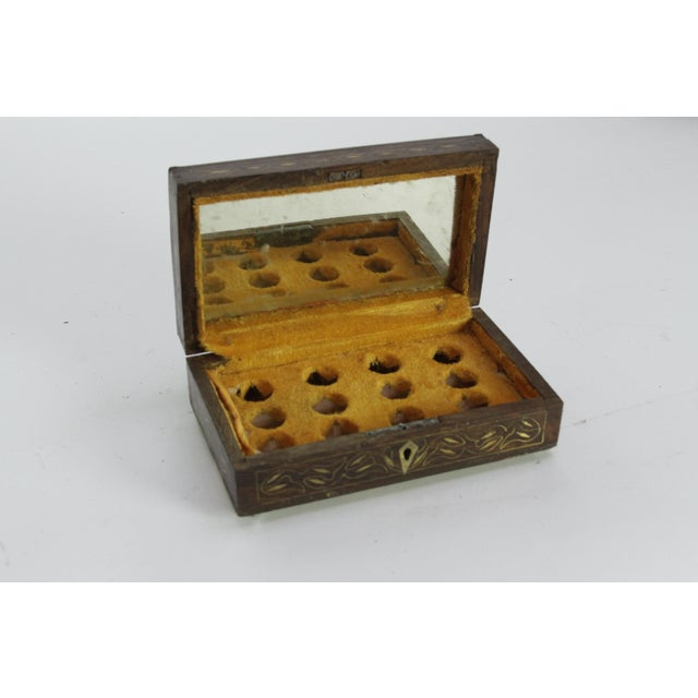 Primitive Elegant Brass Inlay Jewelry Box For Sale - Image 3 of 4