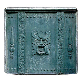 1920 Lead Panel of Tri-Part Design With Central Grotesque Mask For Sale