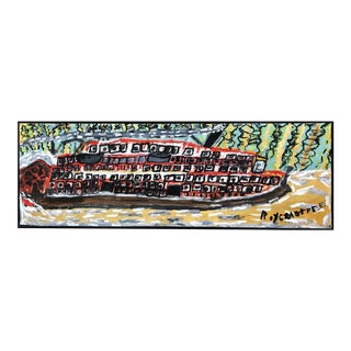 Outsider Art Oil Painting of Steamboat For Sale