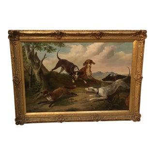 Fox Hunt Scene Painting, Framed For Sale