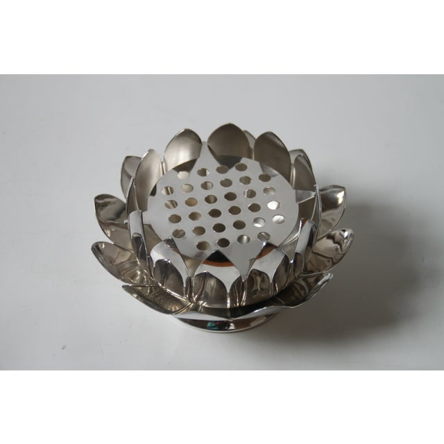 Leonard Silver Plated Lotus Flower Frog Bowl Chairish