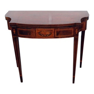 Federal Style Inlaid Flip Top Console Table For Sale