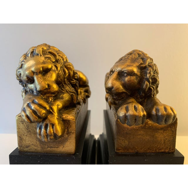 """Vintage Gilt """"Borghese"""" Lion Bookends - a Pair For Sale - Image 10 of 11"""