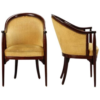 Art Deco Era Thonet Barrel Back Armchairs - A Pair