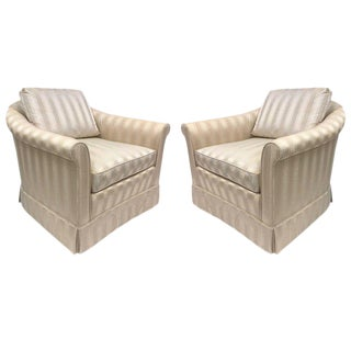 Pair of Baker Upholstered Lounge Chairs For Sale
