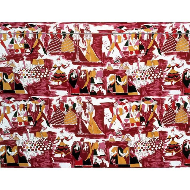 Balletto Alla Scala fabric on burgundy ground. Designed by Gio Ponti in the fifties. Currently being produced and...