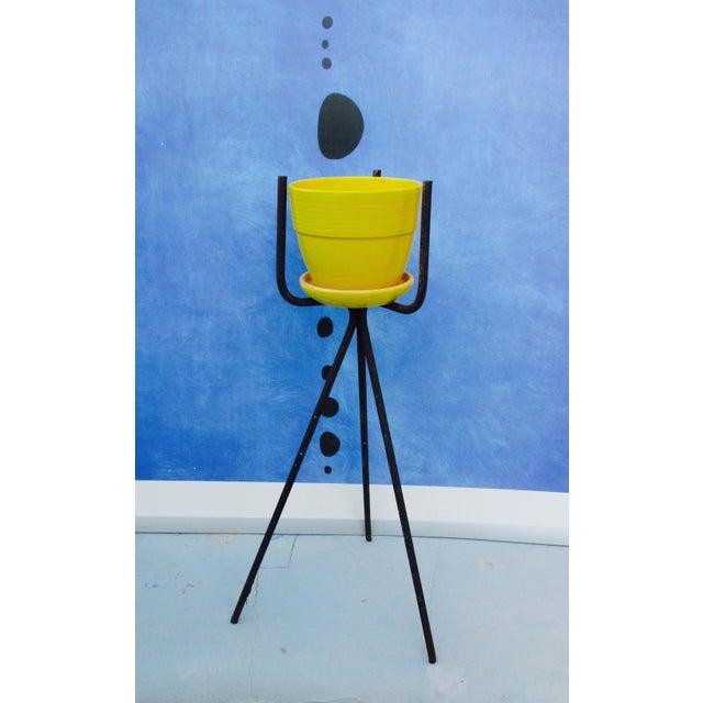 Mid-Century Yellow Ceramic Planter Pot & Iron Tripod Stand - Image 2 of 6
