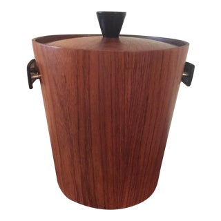 KMC Wood Ice Bucket with Patent Leather Handles For Sale