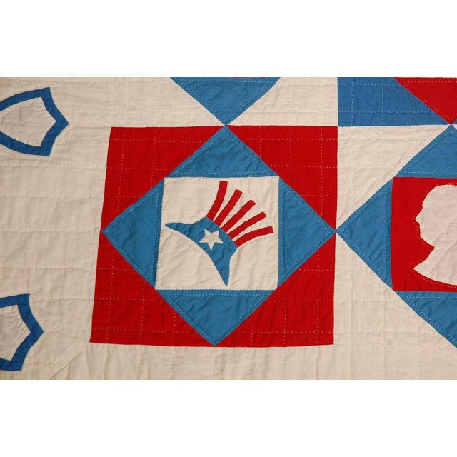 Rare Patriotic Presidential Applique Quilt from 1925 For Sale - Image 4 of 9
