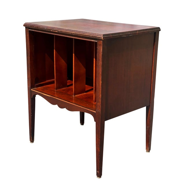 Victorian Antique Traditional Mahogany Carved Vinyl Record Cabinet Holder For Sale - Image 3 of 12