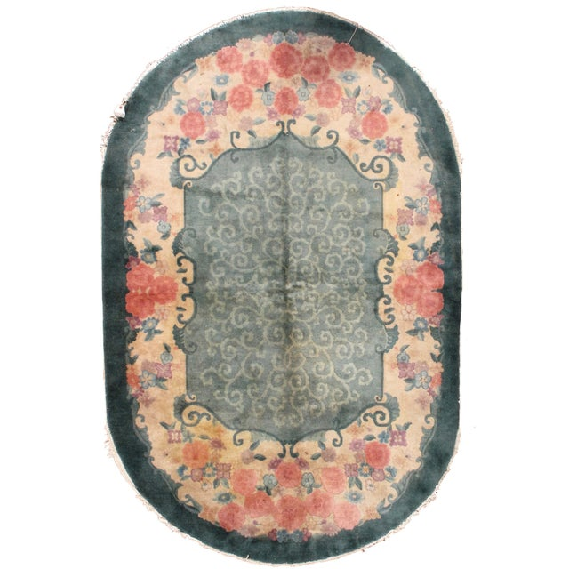 1920s Hand Made Antique Art Deco Chinese Rug - 5′ × 7′10″ - Image 1 of 7