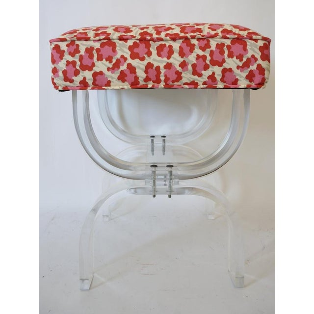 Mid-Century Modern Charles Hollis Jones Lucite Stool Bench With New Upholstery in a Fantasy Leopard Motif, from a Palm...