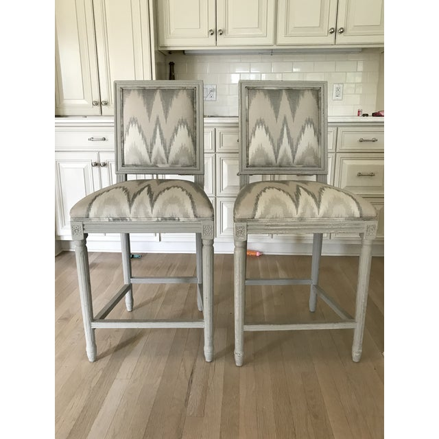 Fabric Louis XVI Inspired Custom Counter Height Barstools - A Pair For Sale - Image 7 of 7