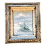 Image of Vintage Original Impressionist Beach Scene Painting Signed For Sale
