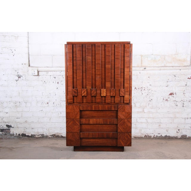 Paul Evans Style Mid-Century Modern Brutalist Walnut Armoire Dresser by Lane For Sale - Image 13 of 13