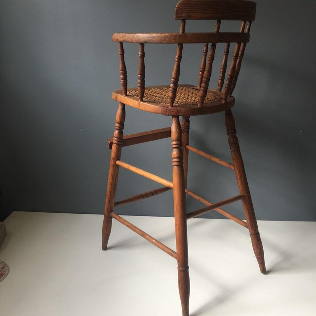 Antique Caned Seat Oak Youth Chair For Sale In Boston - Image 6 of 10 - Antique Caned Seat Oak Youth Chair Chairish