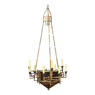English Chinoiserie Bamboo & Lacquer Chandelier