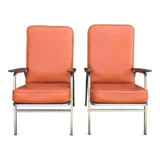 Orange Vinyl and Chrome Side Chairs - a Pair