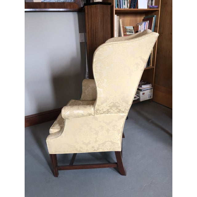Vintage 20th Century High End Henredon Quality American Federal Style Wing Back Chair. Very nice yellow jacquard...