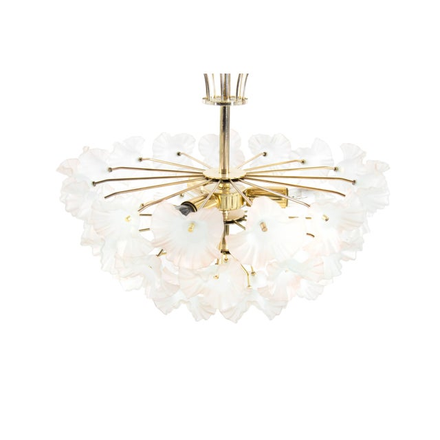 "Mid 20th Century Murano Glass and Brass ""Hibiscus"" Chandelier, Italy, 1950s For Sale - Image 5 of 10"