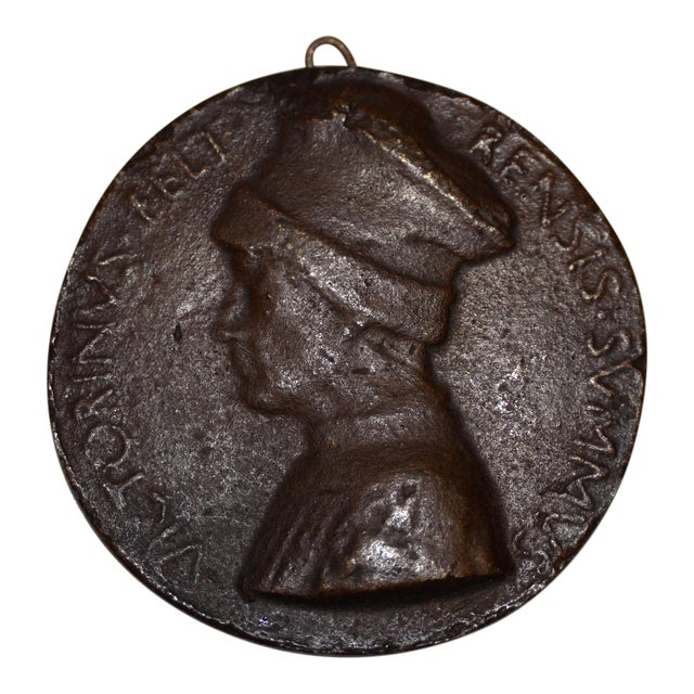 "15th Century ""Vittorino Da Feltre"" Bronze Relief Medallion C. 1440s For Sale"