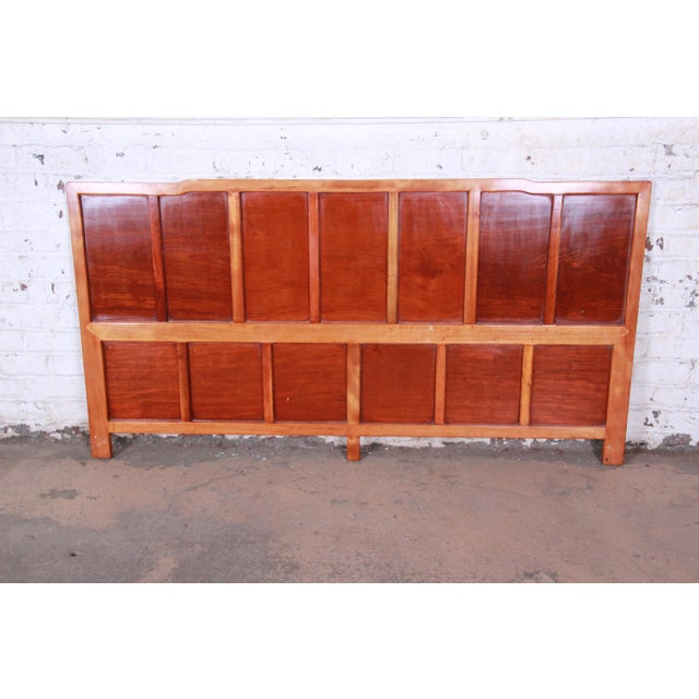 Asian Hollywood Regency Chinoiserie Carved Mahogany King Size Headboard For Sale - Image 3 of 4