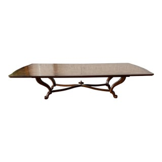 Traditional Dining Table by Baker Furniture Burlwood Brass Inlay For Sale