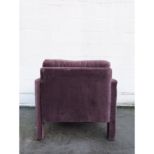 Purple Milo Baughman Style Parsons Armchairs in Original Amethyst Fabric - a Pair For Sale - Image 8 of 11
