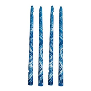 """Sky Blues 14"""" Marbleized Taper Candles, Set of 4 For Sale"""