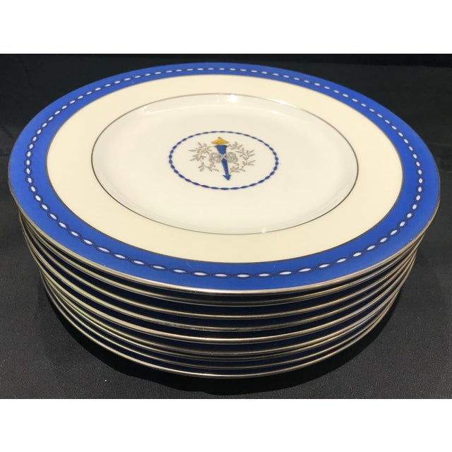 "Mid 19th Century Mid 19th Century Minton ""Torch and Ribbon"" Blue Presentation Dinner Plates - Set of 10 For Sale - Image 5 of 10"