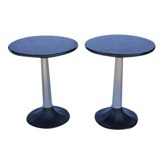 1930s Industrial Round Bistro Tables - A Pair For Sale