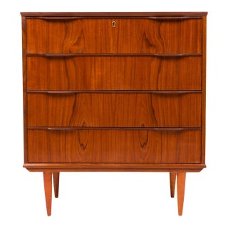 Vintage Danish Mid-Century Four Drawer Teak Lowboy Dresser For Sale