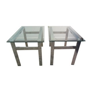 Milo Baughman Chrome Side Tables - A Pair