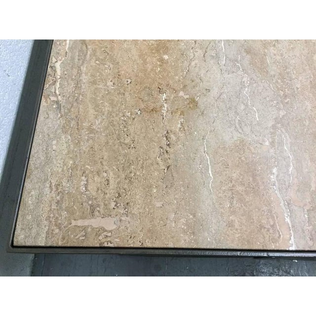 Travertine Top and Wrought Iron Coffee Table For Sale In New York - Image 6 of 7