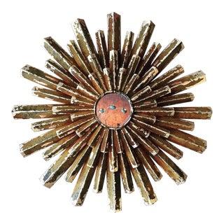 Sunburst Wood Rusted Gold Leaf Mirror For Sale