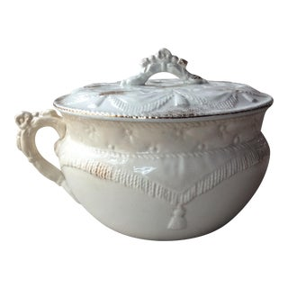 Antique English Bone China Pot For Sale