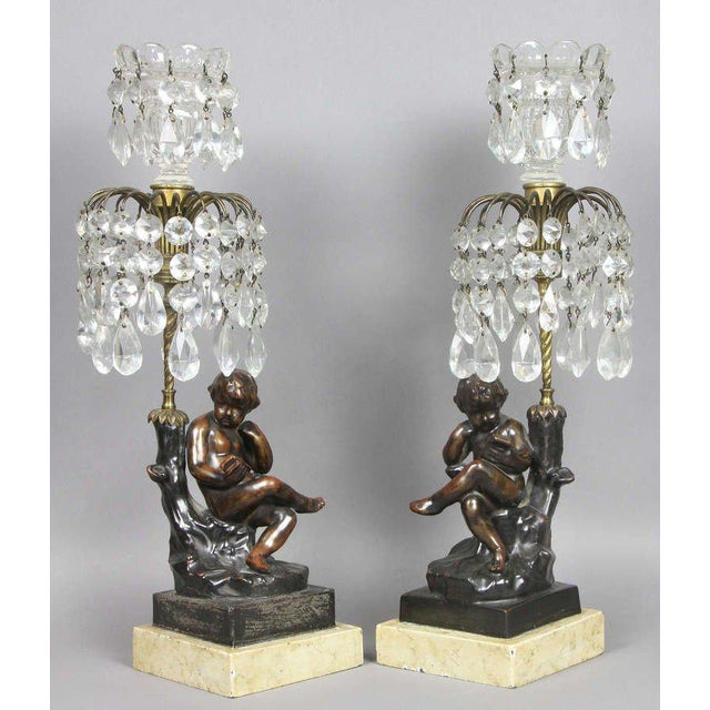 Regency Cast Metal, Bronze And Cut Glass Candlesticks For Sale - Image 9 of 9