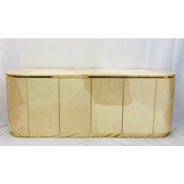 Mid 20th Century Vintage Mid Century Modern Brass Wrapped Credenza For Sale - Image 5 of 13