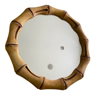 Vintage Faux Bamboo Round Mirror For Sale