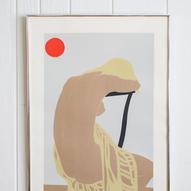 Nude figure linocut print signed and numbered by Austrian artist George Rauch features a woman turned away in repose,...